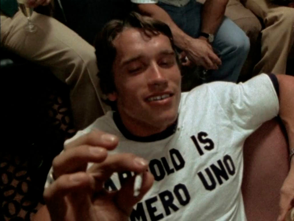 Arnold Schwarzenegger enjoying a joint